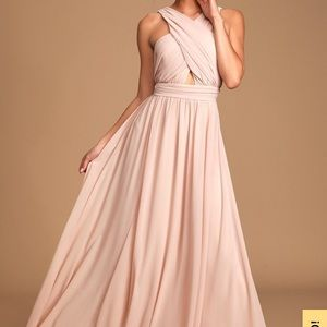 Lulus Divine inspiration blush halter dress